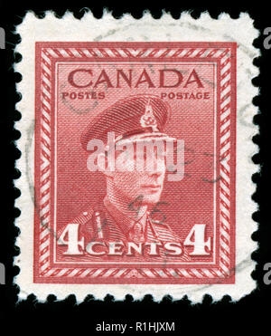 Postmarked stamp from Canada in the  King George VI: 1942-48 'War Effort' Definitive Issue - Stock Photo