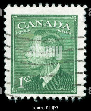Postmarked stamp from Canada in the  King George VI: 1949-51 Definitive Issue - Stock Photo