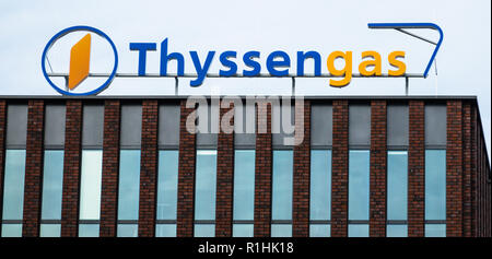 Dortmund, Germany, October 20., 2018: Logo and inscription of Thyssen's gas division on a high-rise building in Dortmund - Stock Photo