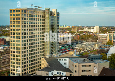 Dortmund, Germany, October 20., 2018: View of Dortmund from above with minimalist cubist skyscrapers - Stock Photo