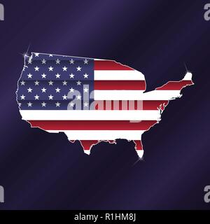 United States of America map silhouette with flag inside - Stock Photo
