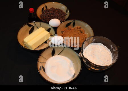 Making chocolate chip cookies on a cold fall day - Stock Photo