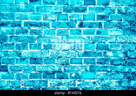Blue turquoise or cyan brick wall painted with different tones and hues as seamless pattern texture background. - Stock Photo
