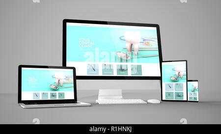 dental clinic website isolated gadget devices 3d rendering - Stock Photo