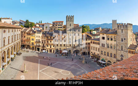Panoramic aerial view of Piazza Grande square in Arezzo, Tuscany, Italy - Stock Photo