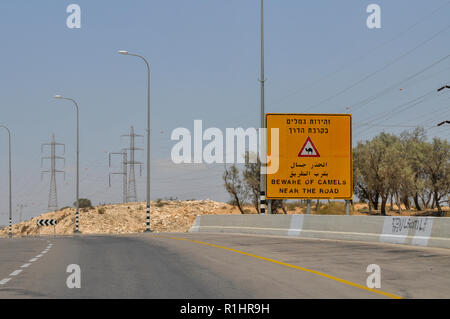 Beware of Camels sign. Photographed in the Negev Desert, Israel - Stock Photo