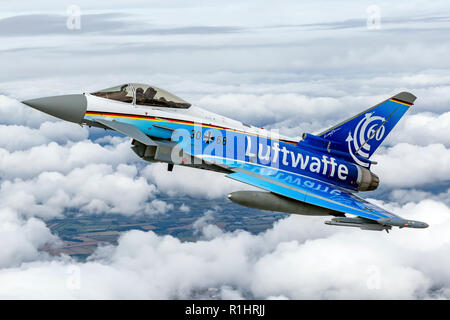 German luftwaffe Eurofighter Typhoon a twin-engine, canard–delta wing, multirole fighter. The Typhoon was designed originally as an air superiority fi - Stock Photo