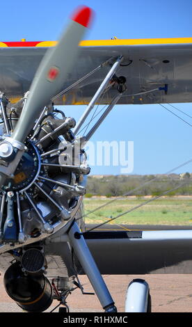 The Ghost Ship, a restored WWII era Stearman biplane at an airshow in Arizona - Stock Photo