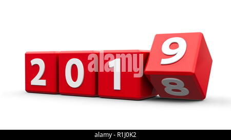 Red cubes with 2018-2019 change on a white table represents the new 2019, three-dimensional rendering, 3D illustration - Stock Photo