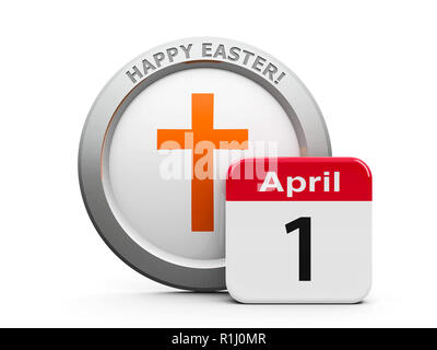 Emblem of cross with calendar button - The First of April - represents Happy Easter 2018, three-dimensional rendering, 3D illustration - Stock Photo