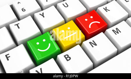 Computer keyboard with positive, neutral and negative keys, three-dimensional rendering, 3D illustration - Stock Photo