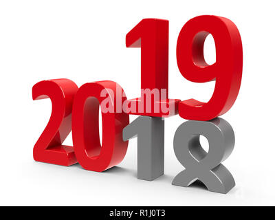 2018-2019 change represents the new year 2019, three-dimensional rendering, 3D illustration - Stock Photo