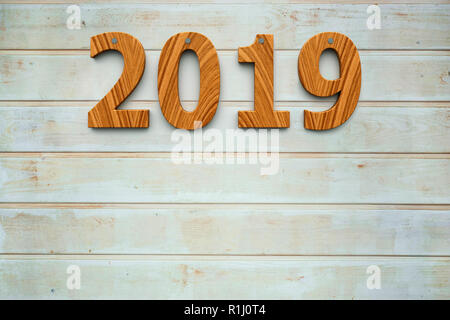 Three-dimensional rendering of wooden 2019 on the wooden background, represents the new year 2019, 3D illustration - Stock Photo
