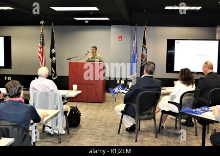 Fort McCoy Garrison Commander Col. Hui Chae Kim provides opening remarks and a welcome to the attendees to the Tomah Veterans Affairs Medical Center Mental Health Summit on Sept. 20, 2018, at Fort McCoy, Wis. The day-long summit featured many guest speakers, demonstrations of Fort McCoy simulations systems, and more. Stock Photo