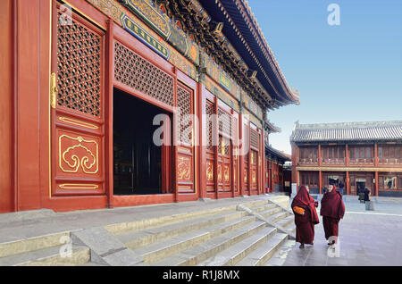 Two young monks walking in Yonghegong Lama Temple area, Beijing - Stock Photo