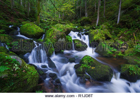 Upper course of the Triberg waterfalls in blue hour, Triberg, Black Forest, Baden Württemberg, Germany - Stock Photo