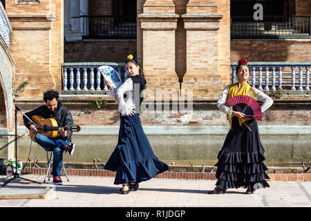 Flamenco dancer on the Spanish Steps, Seville, Andalusia, Spain - Stock Photo