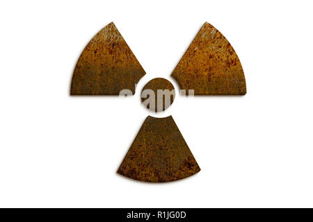 Radioactive (ionizing radiation) nuclear danger symbol constructed of 3D rusty metal grungy texture and isolated on seamless white background. - Stock Photo