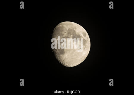 Beautiful waxing Gibbous Moon on a clear night, Cornwall, UK - Stock Photo