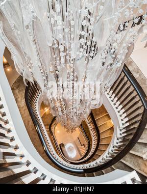 Pendant light over staircase - Stock Photo