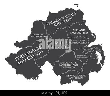 Northern Ireland county map since 2015 labelled black illustration - Stock Photo