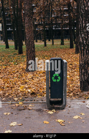 selective focus of trash bin with recycling sign in autumnal park with yellow leaves - Stock Photo