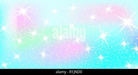 Unicorn rainbow background. Holographic sky in pastel color. Bright mermaid pattern in princess colors. Vector illustration. Fantasy gradient colorful - Stock Photo