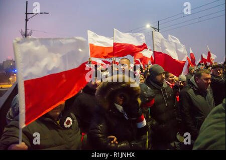 The White and Red March For You Poland celebrating Polish National Independence Day in 100th anniversary of the restoration of Poland's sovereignty af - Stock Photo