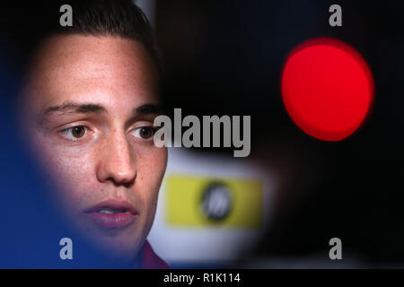 National Museum of History, St.Fagans, Cardiff, Wales, UK. 13th November 2018.Connor Roberts of Wales speaks to the media at the Wales football player media session at the St.Fagans National Museum of History in St.Fagans, near Cardiff , South Wales on Tuesday 13th November 2018. Credit: Andrew Orchard/Alamy Live News - Stock Photo