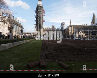 London, UK. 13th November 2018. The lawn in the centre of Parliament Square being replaced after several years. The old grass was worn out and suffered a lot during this year dry summer. After turning over and levelling the soil, the new turf is being laid. The work will be completed this Thursday.  Credit: Joe Kuis /Alamy Live News - Stock Photo