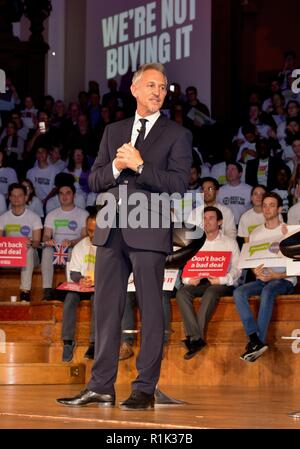 London.UK. 13th November 2018. Gary Lineker and Jo Johnson support second Brexit referendum at Westminster rally staged by People's Vote and Best for Britain © Brian Minkoff/Alamy Live News - Stock Photo