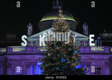 Somerset House, London, UK, 13th Nov 2018. Celebrity arrivals. Skate at Somerset House with Fortnum & Mason opens with an official launch party, as the popular ice rink returns within the historic setting of Somerset House for the ice skating sesason. The ice rink is open to the public from 14th Nov. Credit: Imageplotter News and Sports/Alamy Live News - Stock Photo