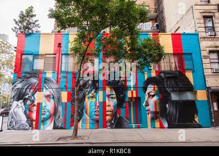 27 club mural by Eduardo Kobra, 170 Forsyth Street & Rivington Street on the Lower East Side, New York City, United States of America. - Stock Photo