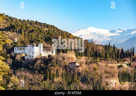 View of the Alhambra Castle, Granada, Province of Granada, Andalusia, Spain - Stock Photo
