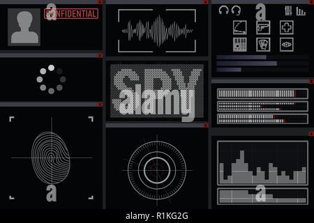 Program for the spy. Display vector illustration. hacker - Stock Photo