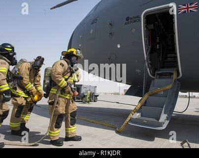 Firefighters with the 379th Expeditionary Civil Engineer