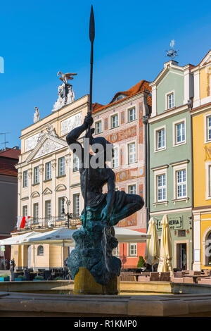 Poland Baroque, view of the Mars Fountain (Fontanna Marsa) and Baroque buildings in the north-west corner of the Old Town Square in Poznan, Poland. - Stock Photo