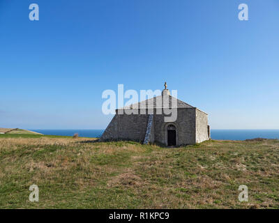 St Aldhelm's Chapel on St Aldhelm's Head or St Alban's Head cliff top Worth Matravers Jurassic coast Dorset - Stock Photo