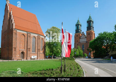 Poznan Ostrow Tumski, view of the Church Of Our Lady in Summo (left) and Poznan Cathedral on Cathedral Island (Ostrow Tumski), Poznan, Poland. - Stock Photo