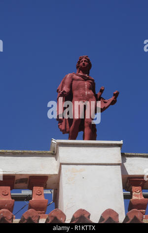 Kea Island Greece Ioulidha Former Town Hall Built in 1902 now School of Music Clay statue of Apollo on Roof - Stock Photo