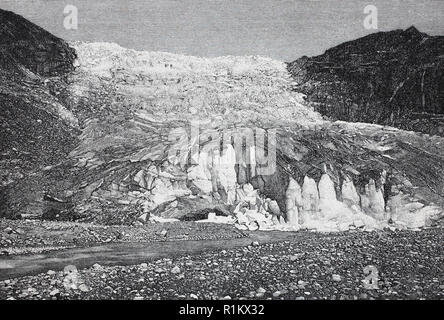 Digital improved reproduction, The Rhone Glacier, Rhonegletscher, Rottengletscher, a glacier in the Swiss Alps and the source of the river Rhône - Stock Photo