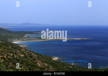 View of the rocky coast of Figari bay from Roccapina in Corsica, France - Stock Photo