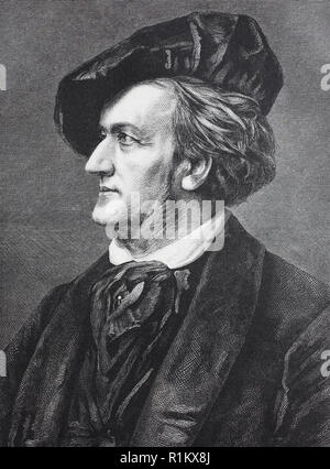 Digital improved reproduction, Wilhelm Richard Wagner, 1813-1883, was a German composer, theatre director, polemicist, and conductor who is chiefly known for his operas - Stock Photo