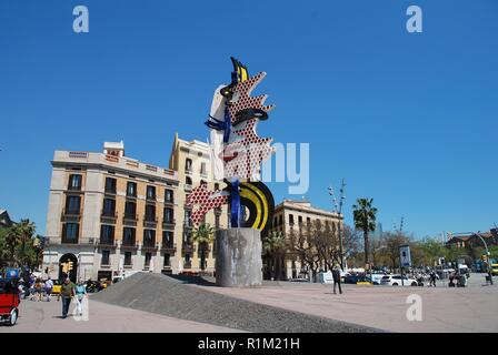 The Head of Barcelona sculpture at Port Vell in Barcelona, Spain on April 17, 2018. It was created by artist Roy Lichtenstein in 1992 for the Olympics - Stock Photo