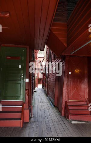 Holmedalsgården, an ancient passageway in Bryggen, Bergen, Hordaland, Norway - Stock Photo