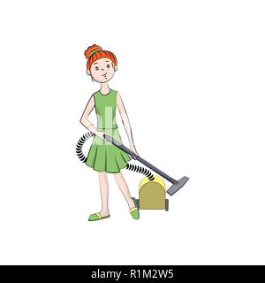 Girl with a vacuum cleaner. Vector color illustration - Stock Photo