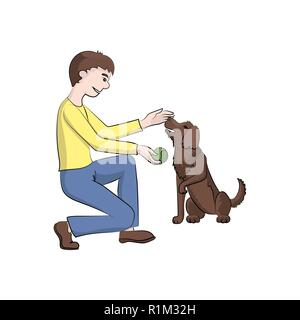 The guy, boy (man) plays with the dog. Vector color illustration. - Stock Photo