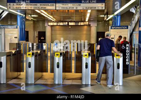 Ticket validation turnstile gates Boston Massachusetts Wonderland subway station entrance - Stock Photo