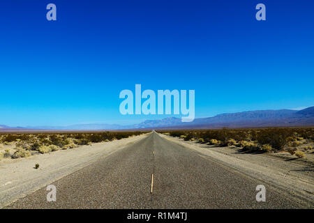 Classic panorama view of an endless straight road running through the barren scenery of the American Southwest with extreme heat haze on a beautiful s - Stock Photo