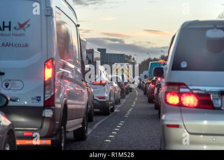 Evening traffic jam. - Stock Photo